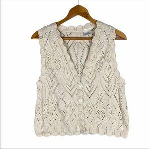 Vintage Crochet Knit Sweater Vest